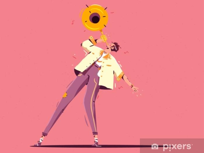 Vinilo Pixerstick Ilustración colorida del jazz. Hombre caminando con trompeta. Ilustración de vector de estilo plano con textura de grano - Hobbies y entretenimiento