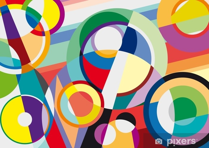 Digital painting. Abstract geometric colorful vector background Pixerstick Sticker - Graphic Resources