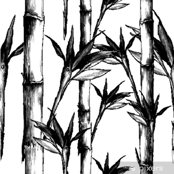 Papier Peint Feuilles Branches Tige Motif De Bambou Fleurs Texture Cadre Croquis Sans Soudure Vecteur Graphiques Dessin Noir Et Blanc Monochrome