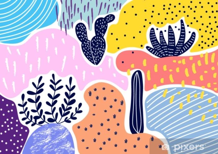 Afwasbaar Fotobehang Creatieve geometrische kleurrijke achtergrond met patronen. collage. ontwerp voor prints, posters, kaarten, etc. vector. - Grafische Bronnen