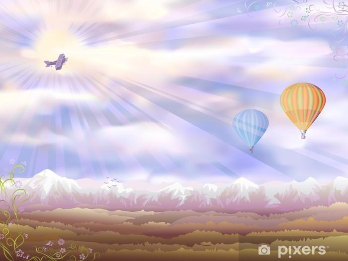 Palloni Ad Aria Calda.Adesivo Vector Veduta Aerea Con Un Aereo E Due Palloni Ad Aria Calda