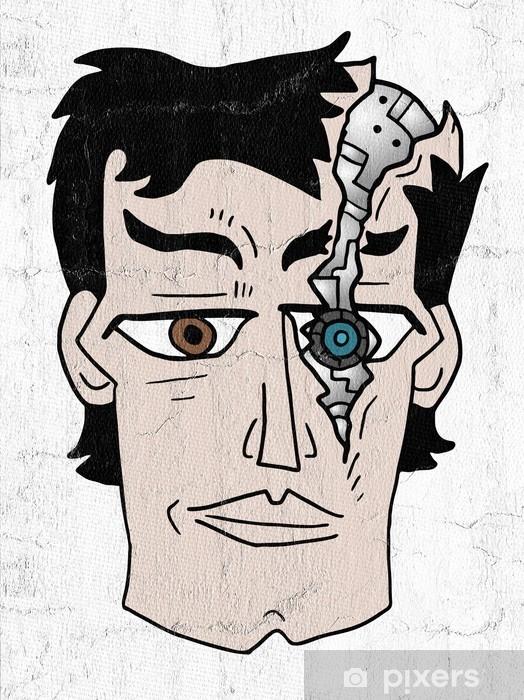 Alfombrilla de baño Cara de robot roto - Gente