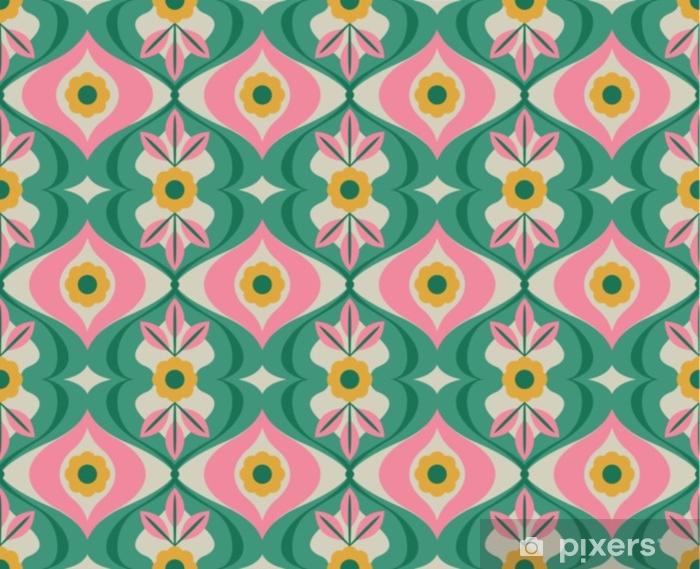 Vinyl Fotobehang Naadloos retro patroon met bloemen en bladeren - Grafische Bronnen
