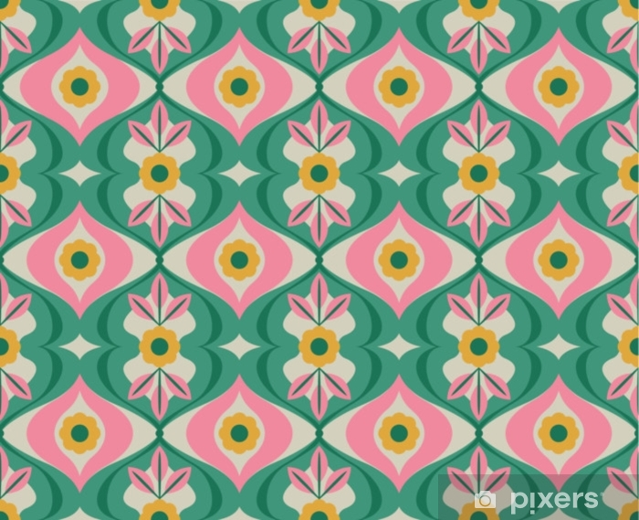 seamless retro pattern with flowers and leaves Washable Wall Mural - Graphic Resources