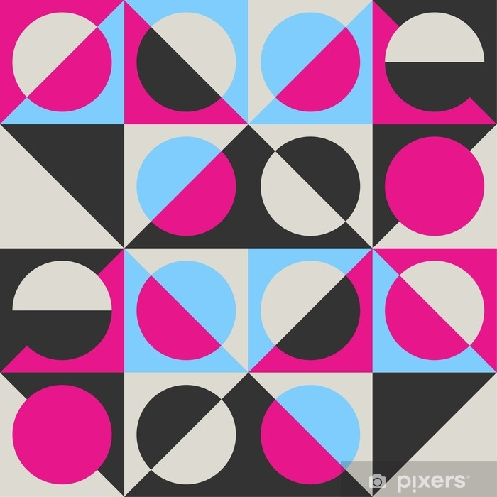 Mural de Parede Autoadesivo Padrão de vetor sem costura geométrico na moda com círculos, quadrados e triângulos. - Recursos Gráficos