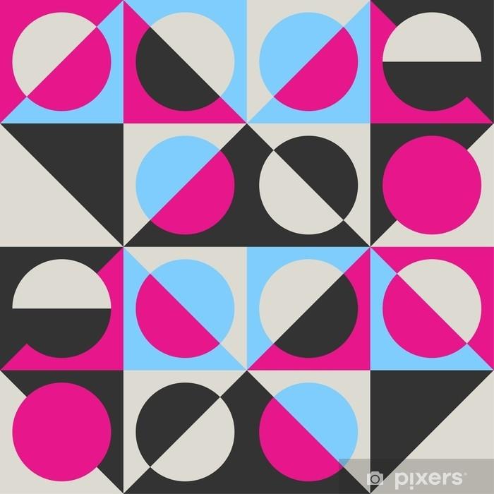 Självhäftande Fototapet Trendigt geometriskt sömlöst vektormönster med cirklar, kvadrater och trianglar. - Grafiska resurser