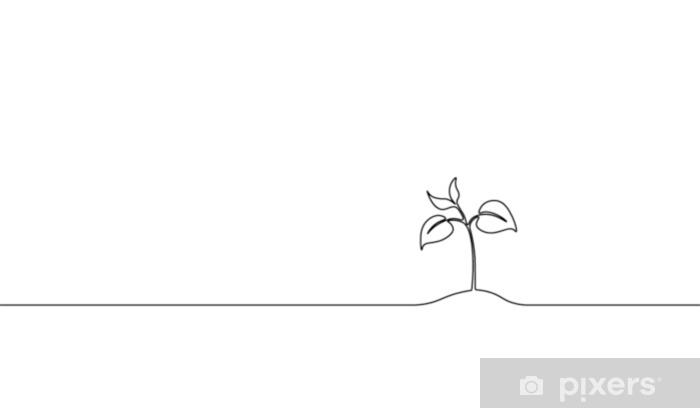 Fototapeta samoprzylepna Pojedyncza, ciągła linia sztuki kiełkowania. roślina liście nasiona rosnąć gleba sadzonka eko naturalne gospodarstwo koncepcja projekt jeden szkic zarys rysunku wektorowego - Rośliny i kwiaty