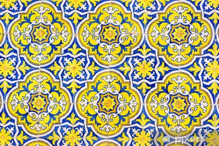 Sticker Pixerstick Texture de carreaux portugais. - Matières premières