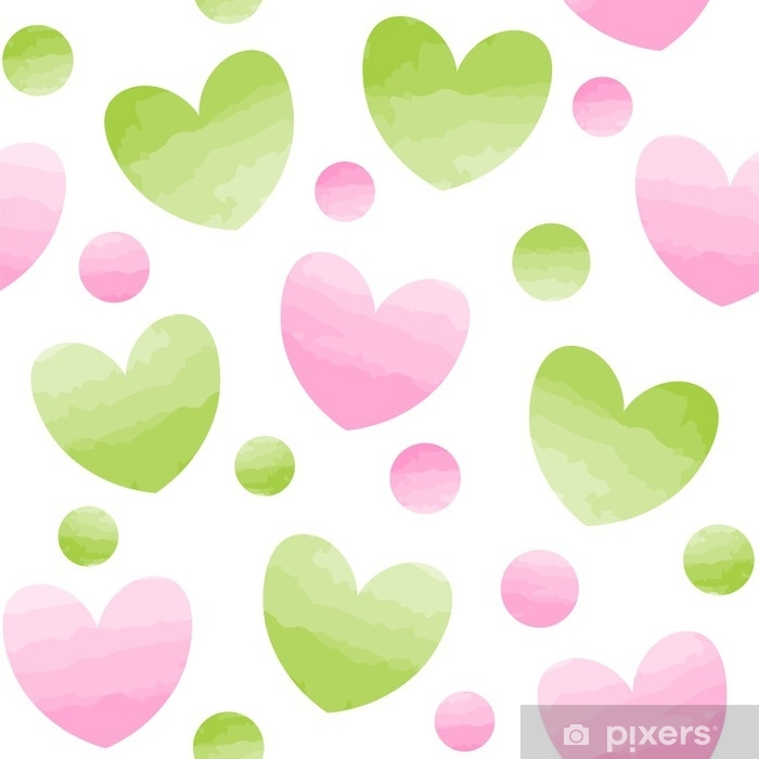 Seamless Vector Pattern Of Pink And Green Hearts Dots Vinyl Wall Mural Graphic