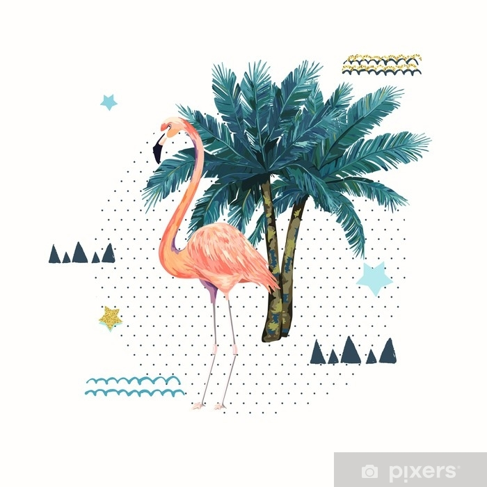 Sticker Affiche Geometrique Abstraite Avec Flamant Rose Design