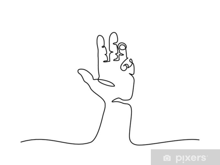 Vinilo Pixerstick Dibujo lineal continuo. palma de la mano con los dedos. ilustración vectorial - Recursos gráficos