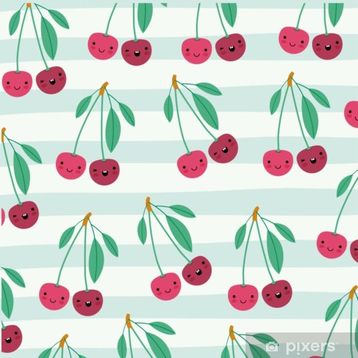 Naklejka Na Szybę I Okno Wiśnie Kawaii Owoce Wzór Zestaw Na Dekoracyjne Linie Kolor Tła Ilustracji Wektorowych