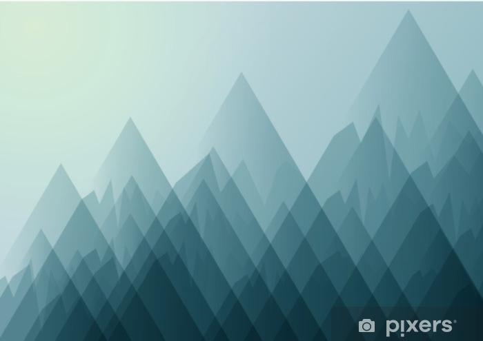 Sticker Pixerstick Paysage de nature avec des montagnes et ciel bleu illustration de background.vector abstraite. - Ressources graphiques