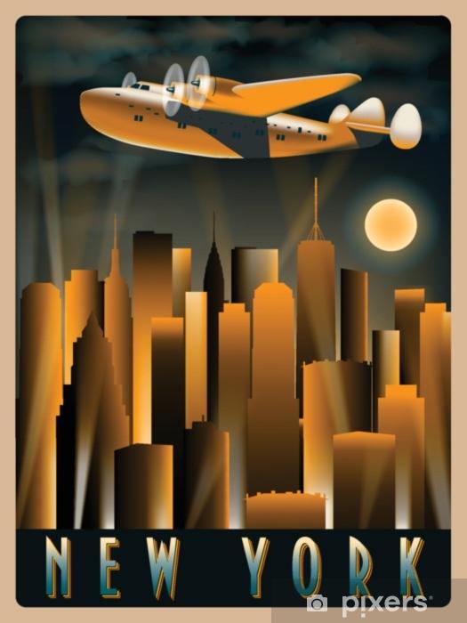 Vinyl Fotobehang Vliegtuig in de lucht boven New York 's nachts. handgemaakte tekening vectorillustratie. art-decostijl. - Reizen