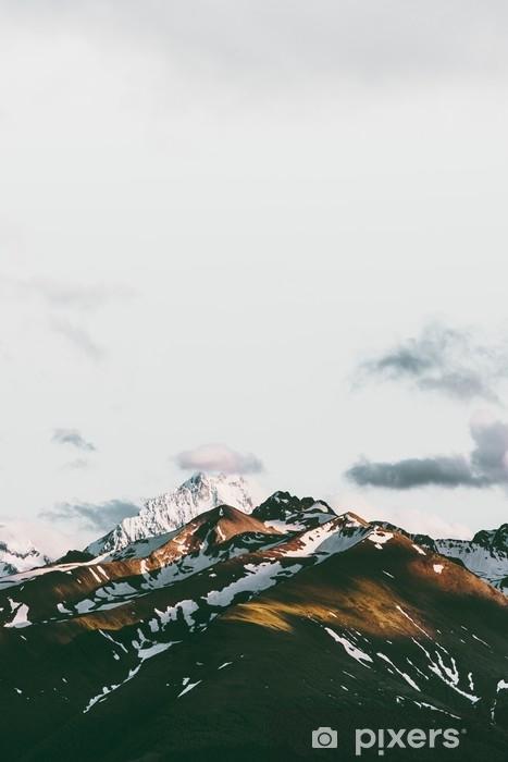 Mural de Parede em Vinil Pôr do sol montanhas paisagem viajar cenário sereno vista aérea - Paisagens