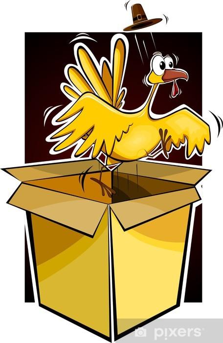 Illustration of a cartoon turkey fowl Pixerstick Sticker - Birds