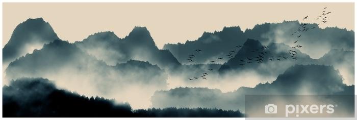 Naklejka Pixerstick Chiński atrament i malowanie pejzażami wodnymi - Zasoby graficzne