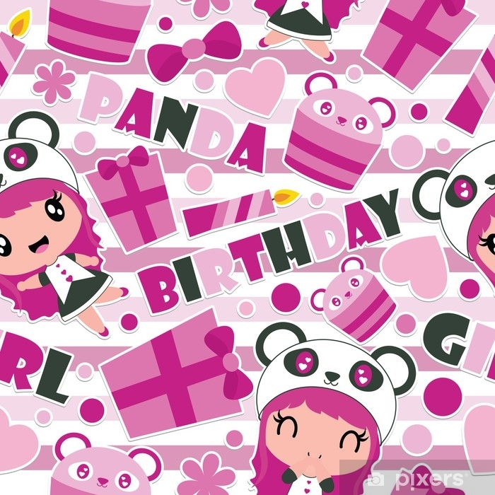 Seamless pattern of cute panda girl, gift, and cupcake on striped  background vector cartoon illustration for Birthday wrapping paper, kid  fabric