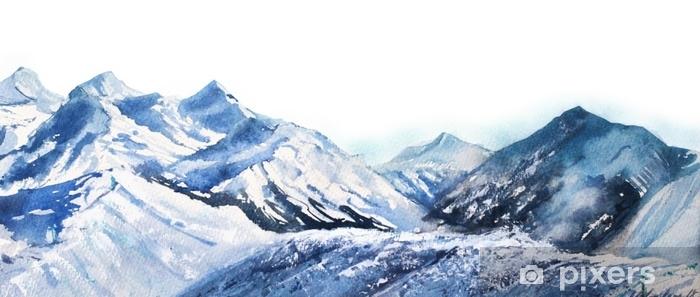 Vinyl Fotobehang Berg winter sneeuw piek waterverf in blauwe Toon op witte achtergrond - Landschappen