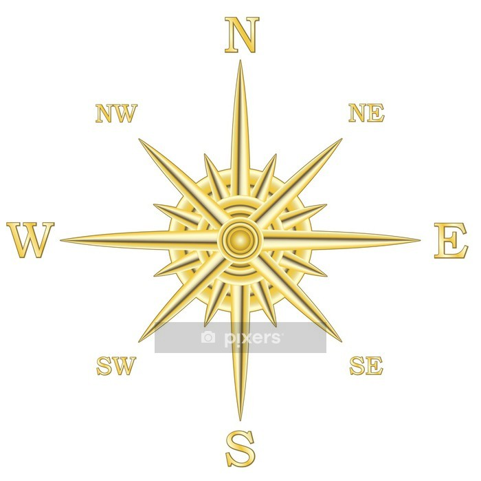 metallic compass wind rose Wall Decal - On the Road