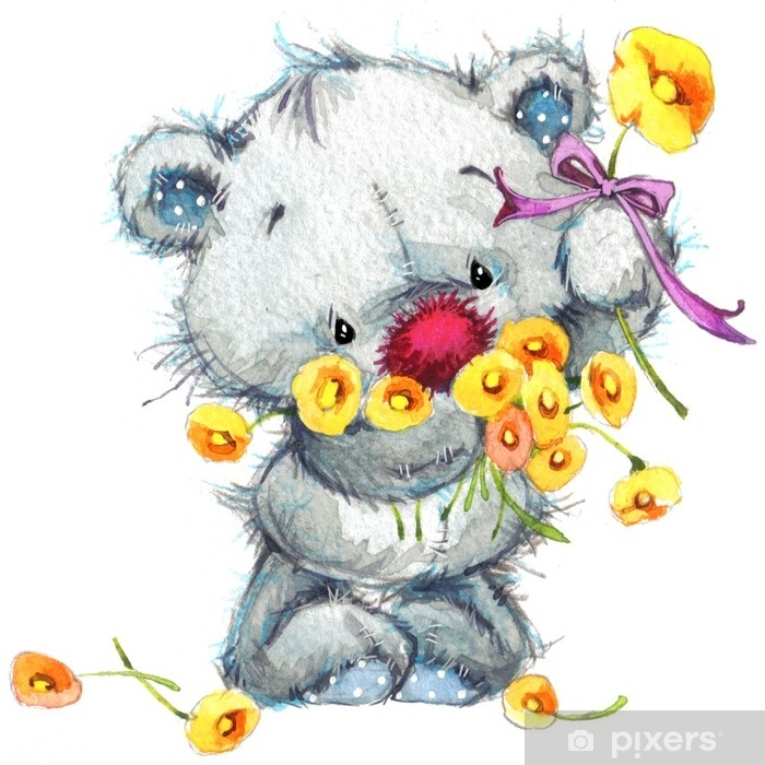 Cute teddy bear. watercolor illustration for greeting card. Pixerstick Sticker - Animals