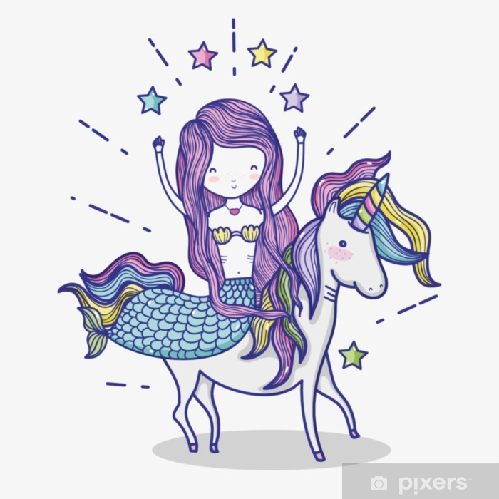 Little mermaid with unicorn art cartoon Pixerstick Sticker - Graphic Resources