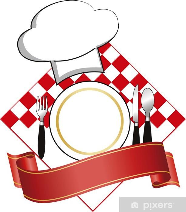 Vinyl Fotobehang Logo vector met plaat en hoed voor restaurant - Tekens en Symbolen