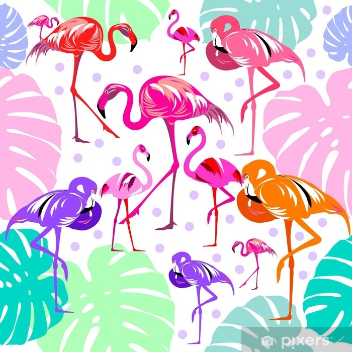 Seamless pattern of flamingo, leaves monstera, tropical leaves of palm tree. Vector background. Poster - Graphic Resources