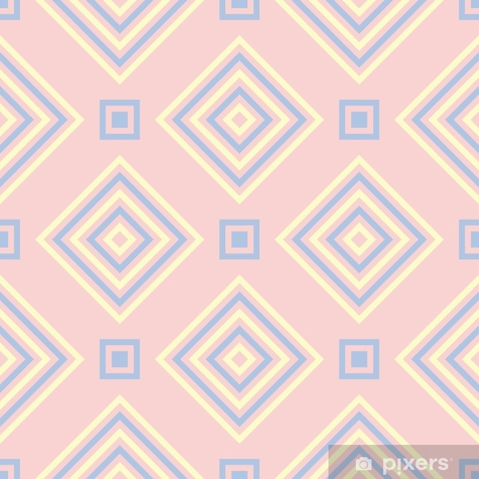 Pale Pink Background With Blue And Beige Elements Vinyl Wall Mural