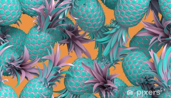 3d rendering of bright tiki style seamless pattern with pineapples. Summer fun background. Trendy poster with vivid colors, pastel blue. Pixerstick Sticker - Graphic Resources