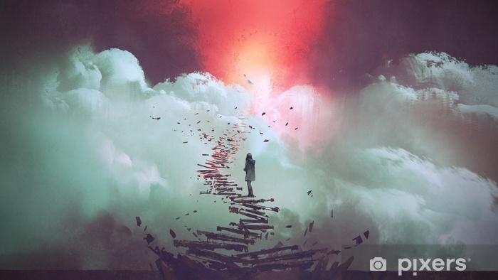 Vinyl Fotobehang Jonge vrouw op gebroken trap in de aanloop naar de hemel, digitale kunststijl, illustratie schilderij - Landschappen