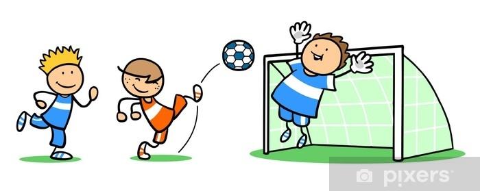Fototapete Gruppe Kinder Beim Fussball Spielen