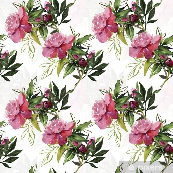 Plakat Piwonie wzór, kwiaty akwarela ilustracja. - Rośliny i kwiaty