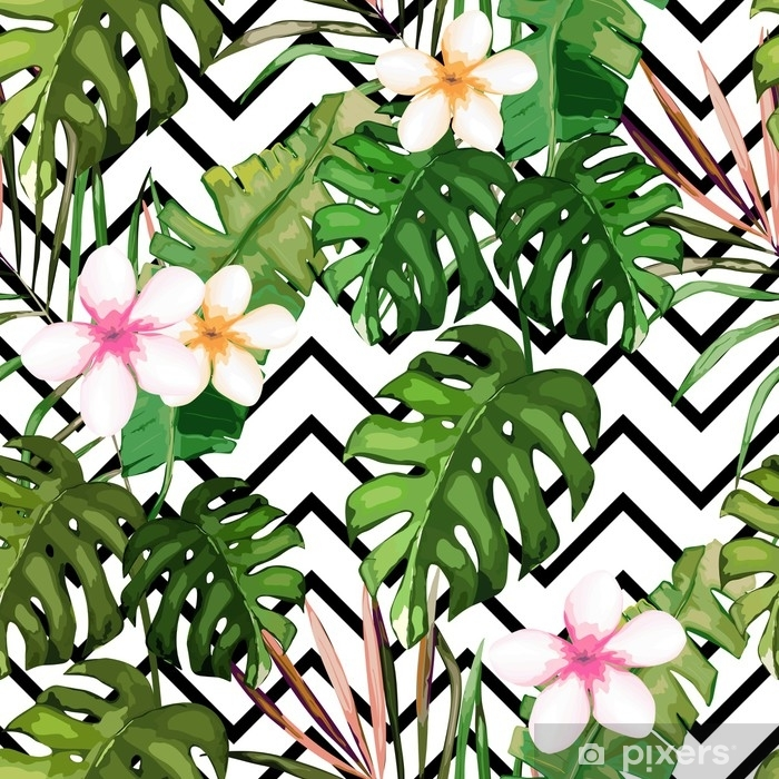 Exotic Summer Print Seamless Pattern With Tropical Leaves