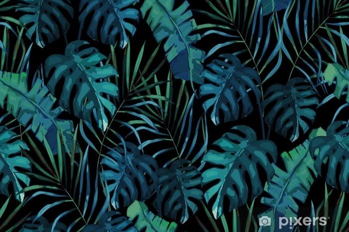 Papier peint vinyle Modèle sans couture exotique botanique, feuilles tropicales vertes, illustration vectorielle d'été sur fond noir - Ressources graphiques