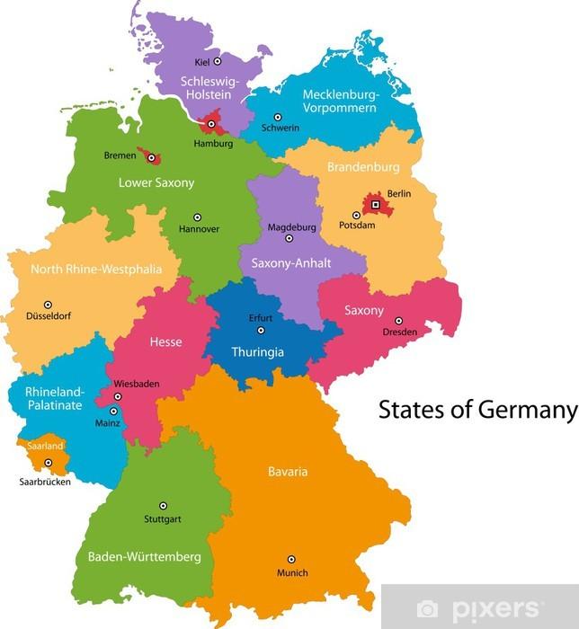 Fototapete Colorful Deutschland Karte Mit Regionen Und Stadte