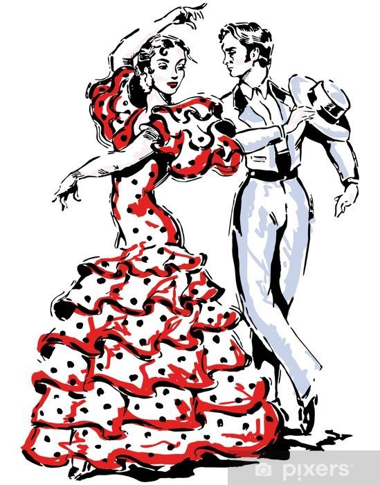 Fototapeta winylowa Typowe hiszpańskie flamenco ilustracji wektorowych - Rozrywka