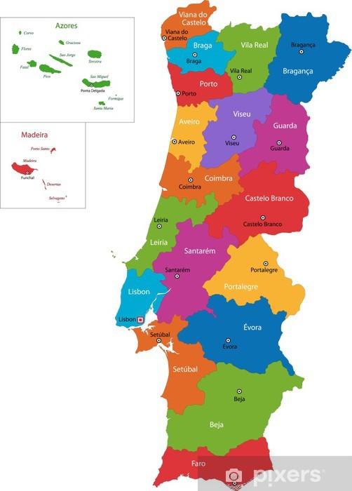 Fototapet Colorful Karta Over Portugal Med Regioner Och Storstader