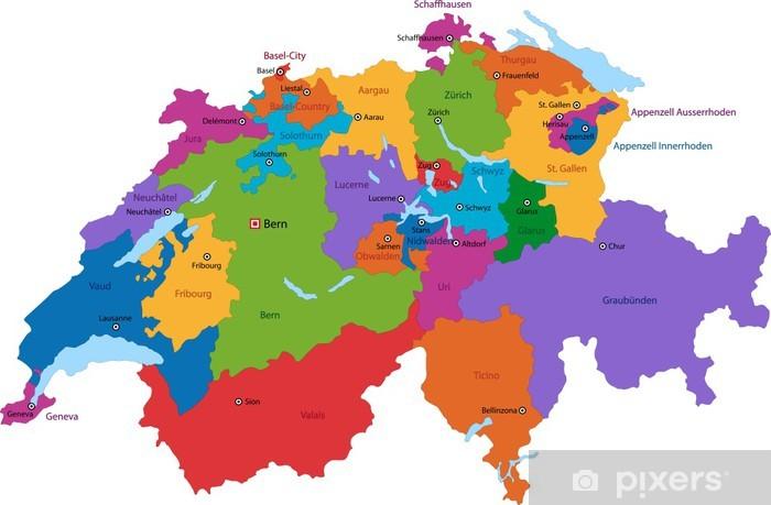 Fototapeta Kolorowa Mapa Szwajcaria Z Panstwami I Glownych