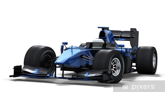 Fototapeta winylowa Samochód wyścigowy na biało - czarno-niebieski - Sporty ekstremalne