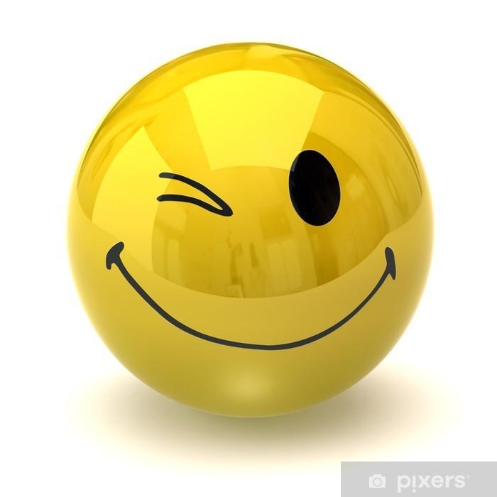 Glædelig blinkende smiley Fototapet • Pixers® - Vi lever for forandringer