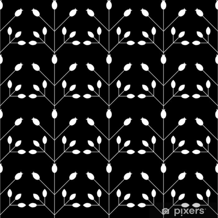 Pixerstick Sticker Modern vector bloemen naadloos geometrisch patroon met gestileerde rozebottelsbessen en bladeren in retro Skandinavische stijl. eenvoudige contouren met versleten textuur. - Grafische Bronnen