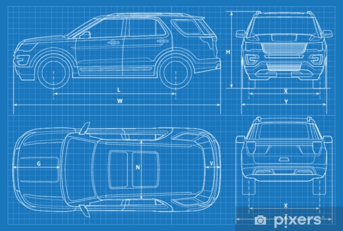 Off-road car schematic or suv car blueprint  Vector illustration  off road  vehicle in outline  Business vehicle template vector  View front, rear,