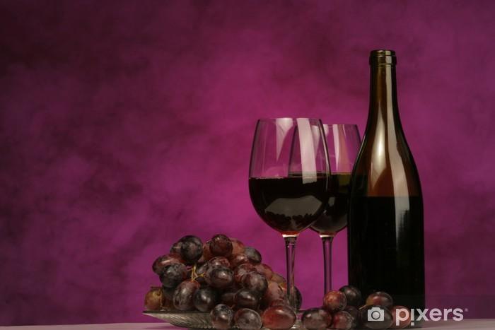Carta da Parati in Vinile Orizzontale della bottiglia di vino con gli occhiali e l'uva - Vino