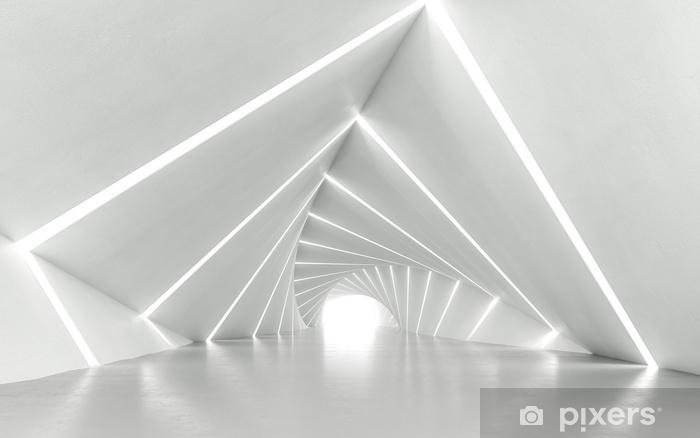Pixerstick-klistremerke Abstrakt hvit vridd korridor, 3d rendering - Hobby og Fritid