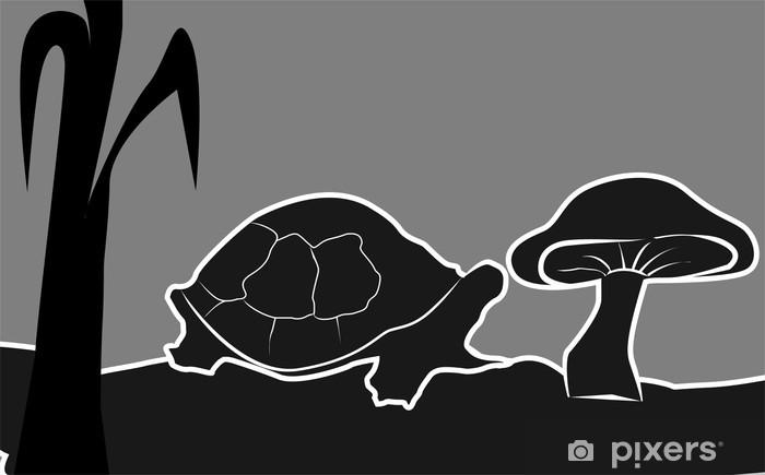 Bir Mantar Yakın Kaplumbağa çizimi Duvar Resmi Pixers Haydi