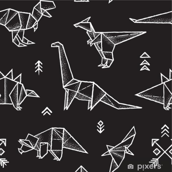 Naklejka Pixerstick Origami dinozaury wzór w czarno-białych kolorach. ręcznie rysowane ilustracji wektorowych - Hobby i rozrywka