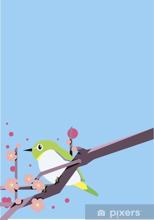 Naklejka Pixerstick Plum i ptaków - Kwiaty