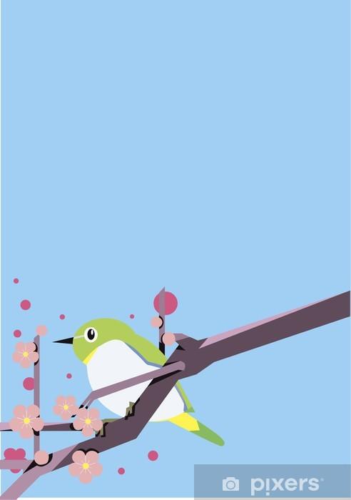 Papier peint vinyle 梅 と 鳥 - Fleurs