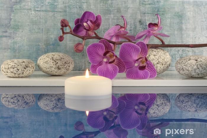 Fotomural Estándar Orquídea, vela, agua - Belleza y cuidado personal